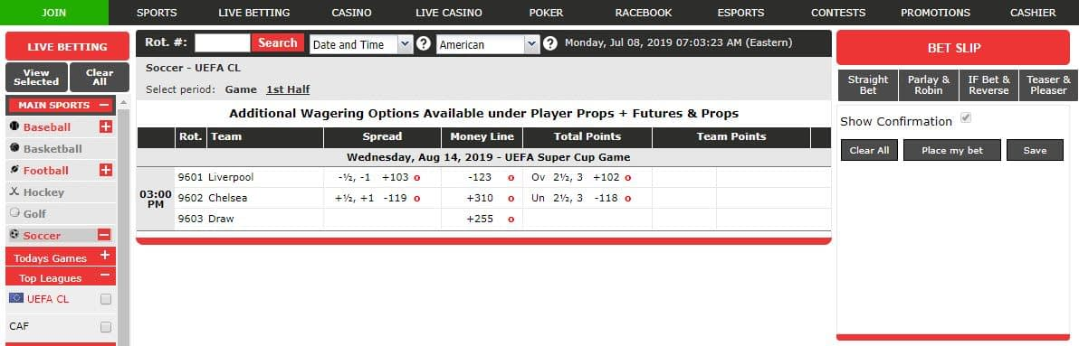 image of Spread line / money bets on an online casinos